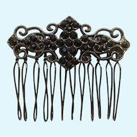 Gothic Style Hair Comb Clip with Black Rhinestones and Black Filigree