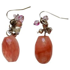 Large Pink to Peach Faceted Beads Dangle from Fishhook Earrings for Pierced Ears