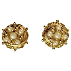 Faux Pearls on Gold-Tone Settings Stud Post Earrings for Pierced Ears