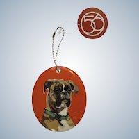 Boxer Go Dog Christmas Ornament Retired Department 56 Enesco Porcelain # 4039525
