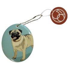 Retired  Department 56 Enesco Go Dog Pug Porcelain Christmas Ornament # 4039515