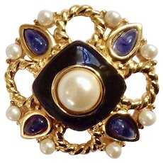 Monet, Faux Pearls, Blue and Black on a Gold-Tone Brooch Pin
