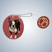 Retired Department 56 Enesco Go Dog Boston Terrier Porcelain Christmas Ornament # 4039517