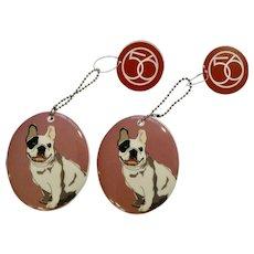 Retired 2 Department 56 Enesco Go Dog Bulldog Porcelain Christmas Ornaments # 4039524