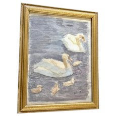 Swans with Baby Cygnets Family Swimming in a Pond Watercolor Painting Signed