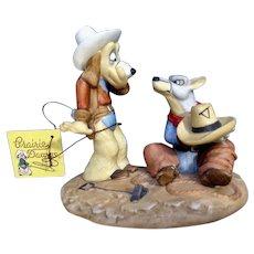 Zany Pecos Pooch Bullseye Blackie 'Branding Time' Porcelain Figurine