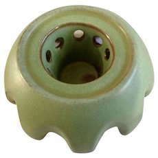 Vintage Frankcoma Pottery Candle Teapot Warmer Footed Trivet Prairie Green