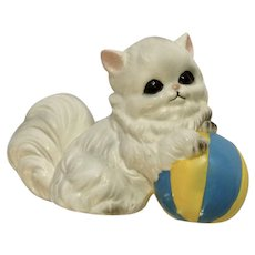 Vintage Josef Originals Kitty Cat and Beach Ball Ceramic Figurine