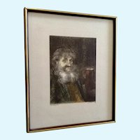 Marianne L. Almasy, Etching Man Portrait Limited Edition Print Signed by Artist