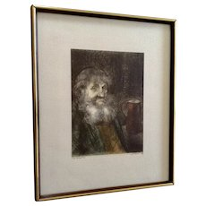 Marianne L. Almasy, (L. Mariae), Etching Old Man Portrait Hand Colored Aquatint Limited Edition Print Signed by Artist