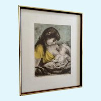 Marianne L. Almasy, Etching Self Portrait Mom Hand Colored Limited Edition Print