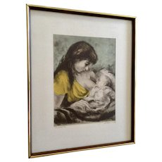 Marianne L. Almasy, (L. Mariae), Etching Self Portrait Mother with Child Hand Colored Aquatint Limited Edition Print Signed by Artist