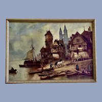 Vintage Medieval European Coastal Town Logging Scene Lithograph Print