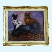 S. Zimmerman Three Kitty Cats Portrait Acrylic Painting