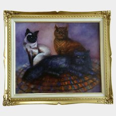 S. Zimmerman Three Kitty Cats Portrait Acrylic Painting on Canvas Signed by Artist