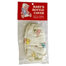 1982 Baby Bottle Cover Soft & Cuddly Bunny Rabbits Fits 8oz Bottle Made in the U.S.A.