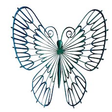 """1971 Very Large Burwood Butterfly 20-1/2"""" Aquamarine to Blue #0189 Plastic Wall Decor Hanging Accessory"""