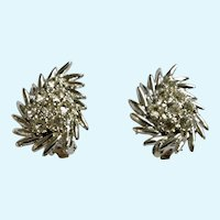Silver-Tone and White Rhinestone Cluster Clip-On Earrings