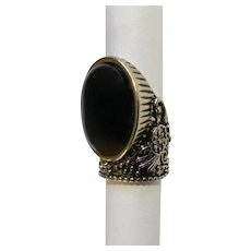 Stunning Polished Black Glass Stone on Silver-Tone Knuckle Ring Size 6