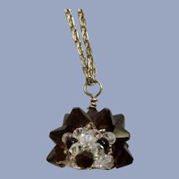 """Humorous Little Crystal Hedgehog or Porcupine Animal Pendant on Silver-Tone Chain Necklace 19-1/2"""""""