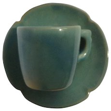 Rare Old Frankoma Pottery Plainsman Square Demitasse Coffee Cup and Saucer Prairie Verde Green California Pottery 1949 - 1952