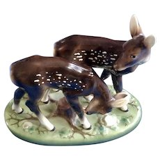Wien Keramos Woodland Deer Austria Porcelain Fawns Figurine (Wein) Vintage Large Statuette