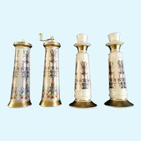 Lenox Lido Neoclassical Salt Shaker and Pepper Mill Grinder with Candlestick Holders