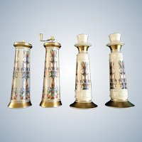 Lenox Lido Neoclassical Salt Shaker and Pepper Mill Grinder with Matching Table Candlestick Holders 24K Gold Highlights