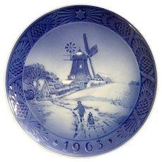 Royal Copenhagen Denmark Porcelain Collectors Plate Windmill 1963 Wall Hanging Kai Lange