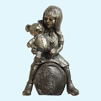 Michael Anthony Ricker, Pewter Figurine Girl with Teddy Bear on Log Limited Edition Signed by Colorado Artist