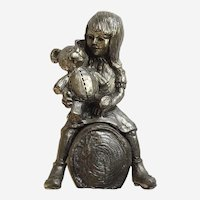Michael Anthony Ricker, Pewter Figurine Girl with Teddy Bear Limited Edition Signed