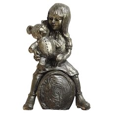 Girl with Teddy Bear on Log Michael Anthony Ricker Pewter Limited Edition Figurine Signed by Colorado Artist