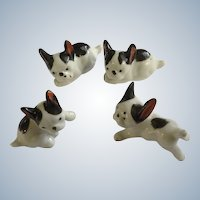 Black and White Bulldog Porcelain Figurines Japan from Early 20th Century