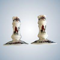 Lenox Winter Greetings  Candlestick Holders Bird Ribbon Christmas