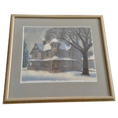 Carl Homstad, Winter Storm Warning Limited Edition Woodblock Print Signed by Iowa Artist
