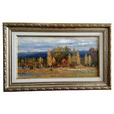 Beautiful Colors of Autumn Fall Landscape Oil Painting on Canvas Board Signed By Artist