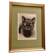 Carol Conner (1920-2005) Black Cat with Green Eyes Pastel Painting Works on Paper Signed by Artist