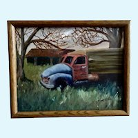 Dorothy (Dot) Pecina, Coal Truck in Rustic Landscape Oil Painting