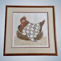 Linda Cullen Hen Sitting on Eggs, 'Southern Comfort' Etching Limited Edition Print of a Chicken Signed By Artist 37/200