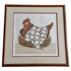Linda Cullen Hen Titled, 'Southern Comfort' Etching of a Chicken Signed By Artist 37/200