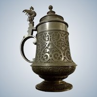 Dragon Stein German Wyvern Pewter Vintage Covered Tankard Beer Mug Detailed