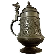 Vintage Covered German Stein Dragon Wyvern Handle Pewter Tankard Detailed Beer Mug