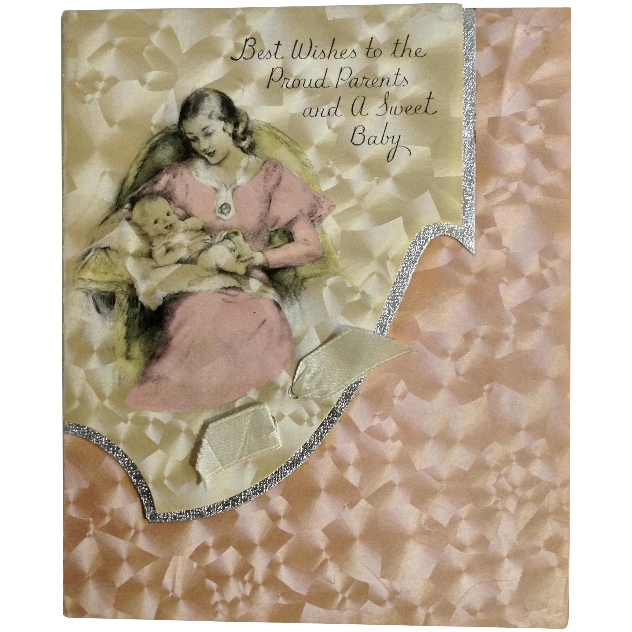 Vintage Rust Craft Greeting Card Company Boston Usa Baby Girl