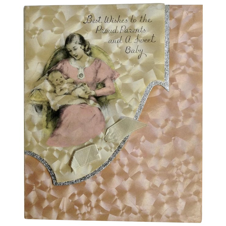 Vintage rust craft greeting card company boston usa baby girl vintage rust craft greeting card company boston usa baby girl newborn arrival card m4hsunfo
