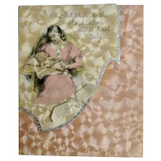 Vintage Rust Craft Greeting Card Company Boston, U.S.A. Baby Girl Newborn Arrival Card