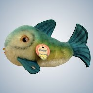 Steiff Fish Mohair  Flossy Blue Plush Stuffed Animal with Button and Hang Tag 1960's