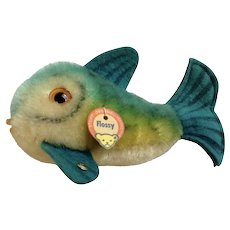 Vintage Steiff Flossy Blue Fish Mohair Plush Stuffed Animal with Button and Hang Tag 1960's