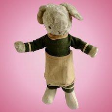 Vintage Bunny Rabbit Stuffed Plush Sawdust Filled Animal Circa 1940's