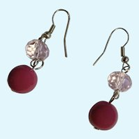 Earrings for Pierced Ears Light Translucent Pink and Purple Beads