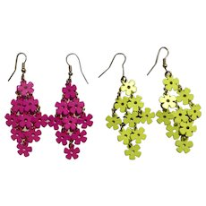 Groovy Floral Florescent Green and Purple Pairs of Fishhook Earrings for Pierced Ears